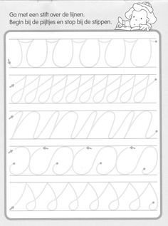 Trace the Dotted Lines Worksheets for Kids - Preschool and Kindergarten Preschool Writing, Preschool Worksheets, Writing Activities, Pre Writing, Writing Skills, Teaching Cursive, Handwriting Practice, Handwriting Worksheets For Kids, Kids Education