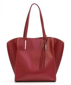 Red Raw Edge Leather Tote