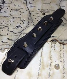 Mens Black Leather Cuff Bracelet Spiked by DodoLeather on Etsy, $25.00