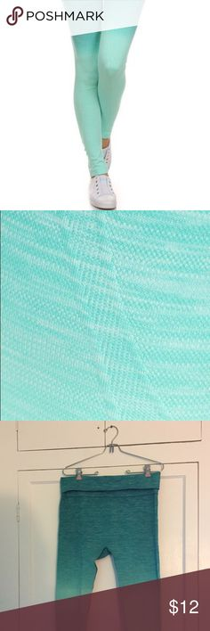 Yelete Yoga Pants Size L Comfortable Ombré Teal Super comfortable compression-style yoga pants. Teal/light turquoise ombre. Detailed stitching. High fold-over waist. So pretty, just too large! Yelete Pants Leggings