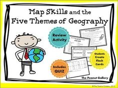 Here's a resource to help you complete your map skills and five themes of geography unit. Your students will complete a review activity with key terms, create flash cards for study purposes, and complete a quiz. ($)