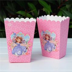 6pcs Sofia The First Popcorn/Candy Cup Box Happy Birthday Party Favors Bucket #Unbranded #BirthdayChild #SofiatheFirst