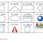 Print both and have students cut out and glue the shapes and objects on the bingo card.  Play class bingo or use in a center.  My class likes it be...