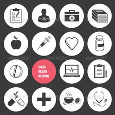 Vector Medicine Health and Drugs Icons Set — JPG Image #ui #pill • Available here → https://graphicriver.net/item/vector-medicine-health-and-drugs-icons-set/5672821?ref=pxcr