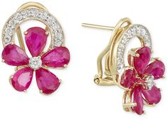 RARE Featuring GEMFIELDS Certified Ruby (5/8 ct. t.w.) and Diamond (1/2 ct. t.w.) Earrings in 14k Gold