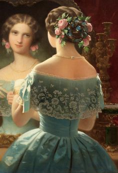 "[Acordei reflexiva]""A Young lady at her toilette"" - unknown French artist, century. Victorian Paintings, Victorian Art, Victorian Women, Victorian Fashion, Vintage Fashion, Belle Nana, 19th Century Fashion, 17th Century, Sewing Art"
