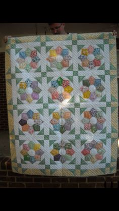 Pieced Dresden Plate crib quilt.  Hand pieced and hand quilted.  Will be saved for a future great grandchild.