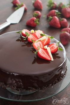 Strawberry Chocolate Mirror Cake :: Home Cooking Adventure Chocolate Cake With Coffee, White Chocolate Mousse, Dark Chocolate Cakes, Chocolate Ganache, Food Cakes, Cupcake Cakes, Cupcakes, Strawberry Mousse Cake, Cake Recipes