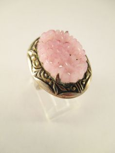 Art Deco Ring Floral Carved Pink Glass Stone Enameled Filigree Mounting Adj #Unbranded #Solitaire