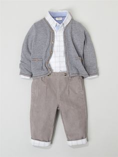 Silhouette BABIES' V-NECK CARDIGAN + BABIES' OUTFIT: SHIRT + NEEDLECORD TROUSERS -
