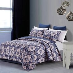 product image for Leandra Quilt Set in Blue/Rose
