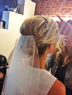 Really like veil placement - flat over bun instead of sticking out