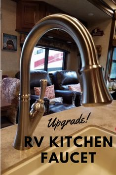 Not in love with the factory faucet your RV came with or is just time for something new? See how easy it is to replace your current kitchen faucet with one you love! Rv Upgrades, Kitchen Upgrades, Best Kitchen Faucets, Kitchen And Bath, Camper Life, Camper Van, Camper Renovation, Rv Hacks, Rv Living