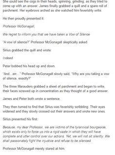 The Marauders - Vow of Silence: A Oneshot part 2
