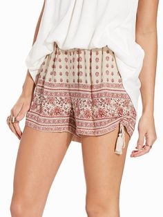 Folk Print Tie Side Shorts