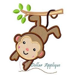 Monkey Applique - 3 Sizes! | Zoo/Wild | Machine Embroidery Designs | SWAKembroidery.com