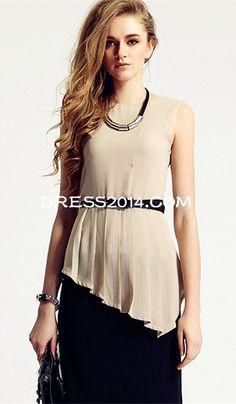 Woman's Casual Stylish Irregular Sleeveless Pluse Size Shirt
