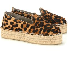 Manebi Leopard Pony Hair Accra Espadrilles ($160) ❤ liked on Polyvore featuring shoes, sandals, low heel platform sandals, espadrille sandals, leopard sandals, leopard print sandals and leopard shoes