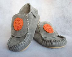 "I adore these - Gray  Suede Moccasins ""Lion"" or ""Dolphin"", rubber sole & wool insole.. $30.50, via Etsy."