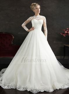 A-Line/Princess Scoop Neck Cathedral Train Tulle Lace Wedding Dress (0025061654) - Vbridal