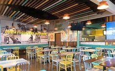 Costa Vida Restaurant Interior Restaurant Interior wonderplanx colored wood Restaurant environment f Vida Restaurant, Mexican Restaurant Design, Colorful Restaurant, Small Restaurant Design, Woods Restaurant, Restaurant Concept, Restaurant Interior Design, Cafe Interior, Yellow Restaurant
