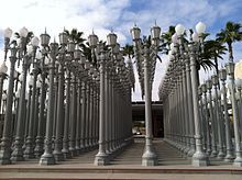 Urban Light - created by Chris Burden in 2008 is a permanent outside display at LACMA. These street lights were once used on Los Angeles streets, but are now solar powered and switch on in the evenings till 10pm.