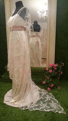 La Belle Epoque inspired blush wedding dress. Unique, vintage inspired 1900s Downton Abbey inspired wedding