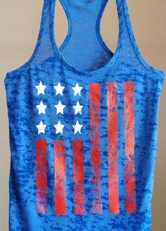 4th of July Memorial Day American Flag Tank Top. Patriotic.