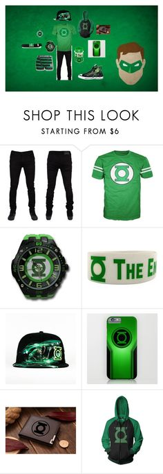 """Green Lantern Men's Outfit"" by lovesehunair on Polyvore featuring Converse, men's fashion and menswear"