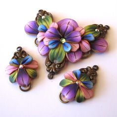 *POLYMER CLAY ~ Pendant & Earrings, by: Clayworks by Kim Detmers