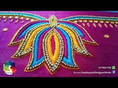 Lotus Design Works in Various Hand Embroidery Embroidery Neck Designs, Basic Embroidery Stitches, Hand Embroidery Videos, Hand Work Embroidery, Embroidery Motifs, Creative Embroidery, Simple Embroidery, Chudidhar Neck Designs, Hand Designs
