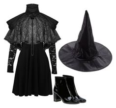 """""""239"""" by dorothygale-z ❤ liked on Polyvore featuring Boohoo, Yves Saint Laurent, classic, black, Dark, witch and fairytale"""