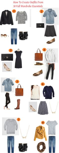 This is Part 2: How to Create Outfits from 30 Fall Wardrobe Essentials.  The original post is HERE.  I hadn't thought about doing a Part 2, but this offers some ideas on how to combine some of the pieces to create several outfits.  I've created eight outfits, but there are many other possibilities too. Tops: 1. Crew …