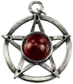 Witch's Aid amulet. Heighten your own magical ability while attracting new and powerful teachers into your life with this potent pentagram talisman. Stone varies. Has cord. Pewter. 1 1/2""