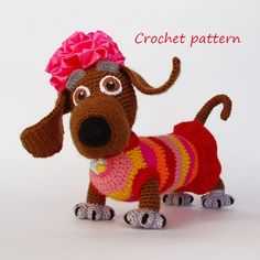 Crochet Pattern. Tabby Lady-dog van InspiredCrochetToys op Etsy