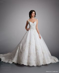 amalia carrara eve of milady 2014 ball gown with straps wedding dress style 329