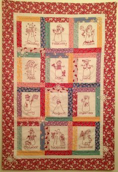 Redwork Snowmen Calendar Quilt - Two Versions! - Starwood Quilter