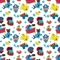 A pattern intended for children's bath products featuring a playful crew of bath-loving pirates!