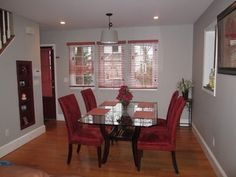"Bragaglia - This Smithtown couple chose the Murano soft horizontal blinds because they were able to get them in the color ""Paprika"" which matched perfectly with their dining room chairs. Horizontal Blinds, Budget Blinds, Custom Blinds, Dining Room Chairs, Window Coverings, Windows, Couple, Furniture, Color"