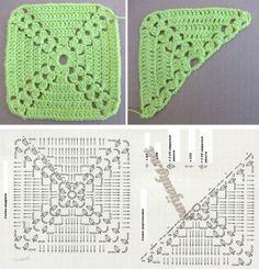 Crochet Hat Diagram Granny Squares New Ideas Motifs Granny Square, Crochet Blocks, Granny Square Crochet Pattern, Crochet Diagram, Crochet Squares, Crochet Blanket Patterns, Crochet Motif, Crochet Designs, Crochet Stitches