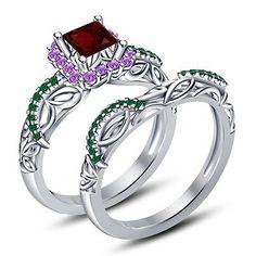 925-Silver-Multicolor-CZ-Disney-Princess-Inspired-Ariel-Engagement-Ring-Set-SZ-5