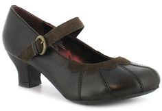 """""""Gayle"""" heeled Mary-Jane courts - by Hush Puppies at Wynsors, £25. Heel height is 5cm and they come in dark brown. Wynsors doesn't have my size."""