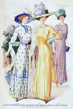 the ladies in length dress but still can see the shoes, show the small waist. they wore the hat with flowers on