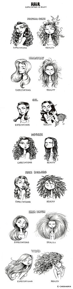 7 Hair Expectations Vs Reality Scenarios… lol this made me laugh, cuz its so true! Cassandra Calin, Curly Hair Styles, Natural Hair Styles, Natural Curls, Natural Skin, Curly Hair Problems, Straight Hair Problems, Expectation Vs Reality, Complicated Relationship