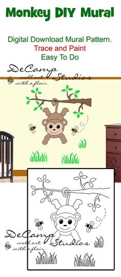 DIY Do It Yourself Monkey Wall Art Mural for baby boy nursery or kids room decor. Trace and Paint by number. Also great for church nursery, childcare, pediatric office, and preschool #decampstudios