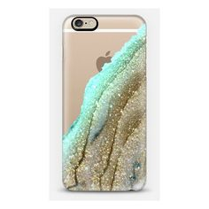 iPhone 6 Plus/6/5/5s/5c Case - FLAWLESS AQUA FAUX GOLD by Monika... ($40) ❤ liked on Polyvore featuring accessories and tech accessories