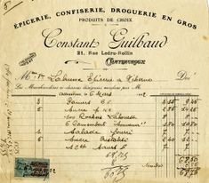 free printable digital image design resource ~ vintage French receipt ~ Constant Guilbaud