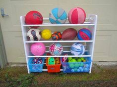 Ball holder for our garage. But make a custom one for basketballs, soccer, & bouncy balls.