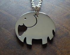 Silver Chunky Elephant Pendant Necklace 4mm от GorjessJewellery