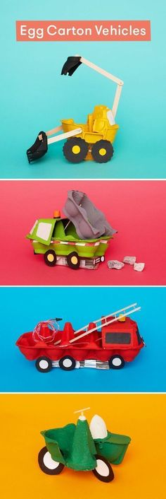 8 egg box vehicles you can craft at home Turn egg cartons into vehicles with this ingenious cardboard craft for kids. The post 8 egg box vehicles you can craft at home appeared first on Knutselen ideeën. Crafts For Boys, Toddler Crafts, Diy For Kids, Children Crafts, Crafts Toddlers, Craft Activities, Toddler Activities, Home Crafts, Fun Crafts
